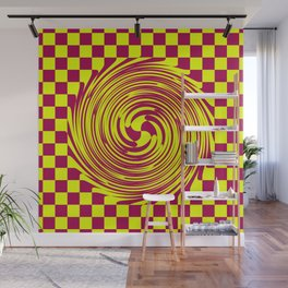 Yellow Maroon Based Purple Checks And Twirl Wall Mural