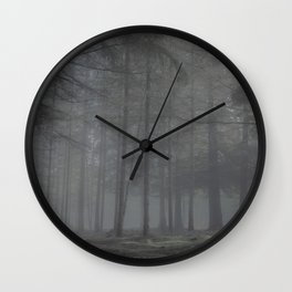 Creepy foggy forest - North Kessock, Highlands, Scotland Wall Clock