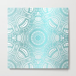 Turquoise Ethnic Pattern With Mandalas Metal Print