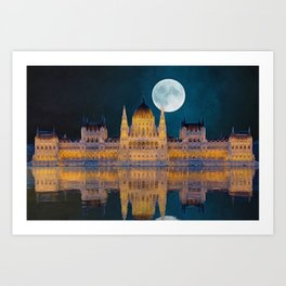 House of the Nation | Hungarian Parliament Building - Oil Painting  Art Print