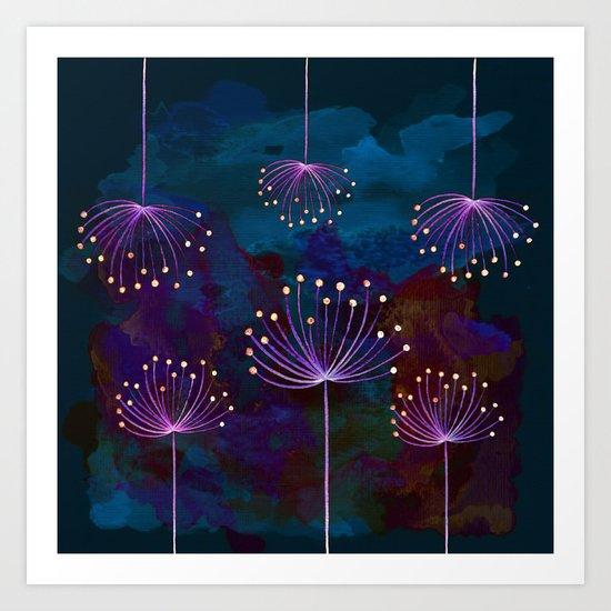 luminous dandelions on petrol blue Art Print