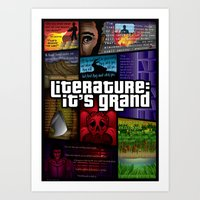 grand theft auto Art Prints featuring Grand Theft Literature by Mitul Mistry