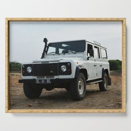 Classic Landrover Defender 2 | classic car photography | white oldtimer poster Serving Tray