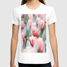 Pink Tulip Bulbs In A Field Green Leaves T-shirt