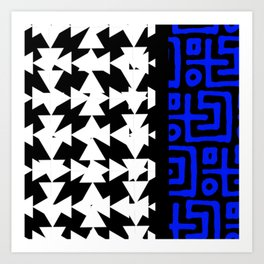 Black, White, & Blue Pattern Art Print