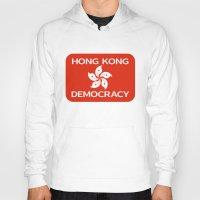 hong kong Hoodies featuring Democracy Hong Kong Flag by mailboxdisco