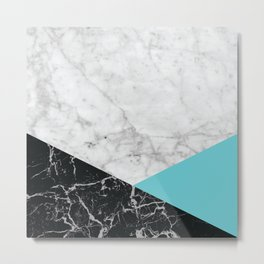 White Marble - Black Granite & Teal #871 Metal Print