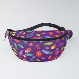 Watercolor Feather Pattern on Purple Fanny Pack