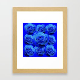 AWESOME BLUE ROSE GARDEN  PATTERN ART DESIGN Framed Art Print