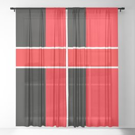 Team Colors 6...red,black,white Sheer Curtain