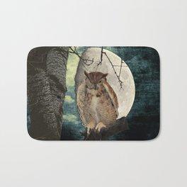 Great Horned Owl Bird Moon Tree A138 Bath Mat