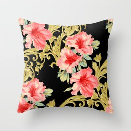 Scroll Azelea in Black Throw Pillow