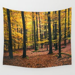 Yellow Orange Autumn Fall Forest Wall Tapestry