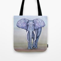 ornate elephant Tote Bags featuring Ornate Elephant by Katelynn Clarey
