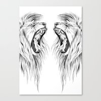 lions Canvas Prints featuring Lions by Libby Watkins Illustration