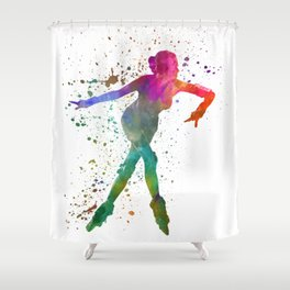 Woman in roller skates 08 in watercolor Shower Curtain