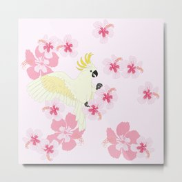Polly's Pink Hibiscus Party Metal Print