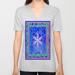 Blue Frozen Snowflake Abstract Art Unisex V-Neck