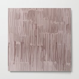 Simply Bamboo Brushstroke Red Earth on Clay Pink Metal Print