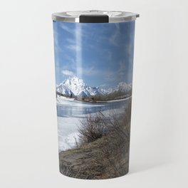 Grand Tetons from Oxbow Bend at a Distance Travel Mug