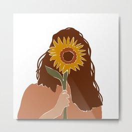 Sunflower Girl - sunflower, sunflowers, girl, aesthetic, summer,  Metal Print