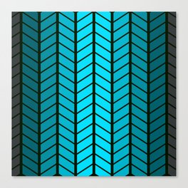 Ombre Chevrons in Shades of Turquoise Canvas Print