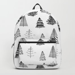 Trees Pattern Black and White Backpack