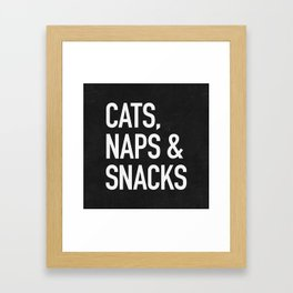 Cats, Naps and Snacks - black version Framed Art Print