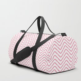 Pastel coral pink white abstract geometrical chevron Duffle Bag