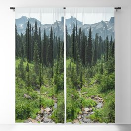 Mount Rainier Adventure IV - Pacific Northwest Mountain Forest Wanderlust Blackout Curtain