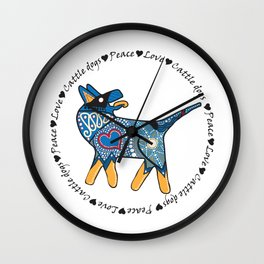 Peace Love and Cattle dogs Blue Wall Clock