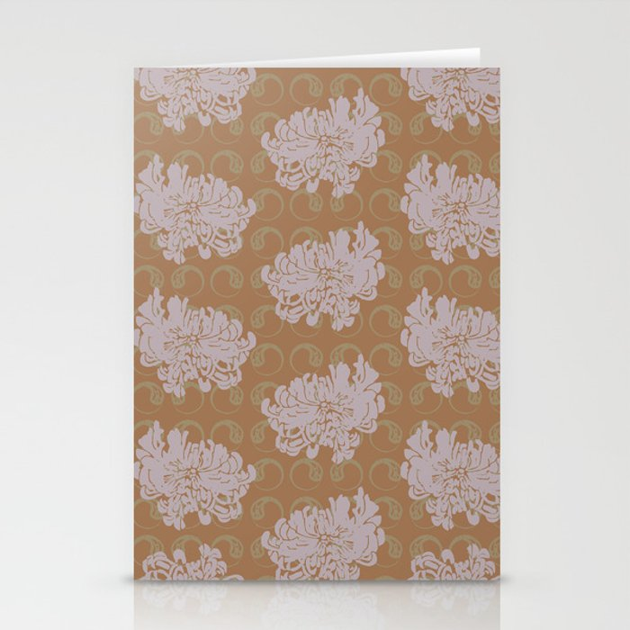 Chrysanthemums and Paisley 2 Stationery Cards