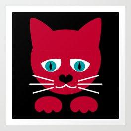 schraegerfuerst, red cat Art Print
