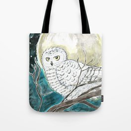 Snowy Owl Watercolor Tote Bag