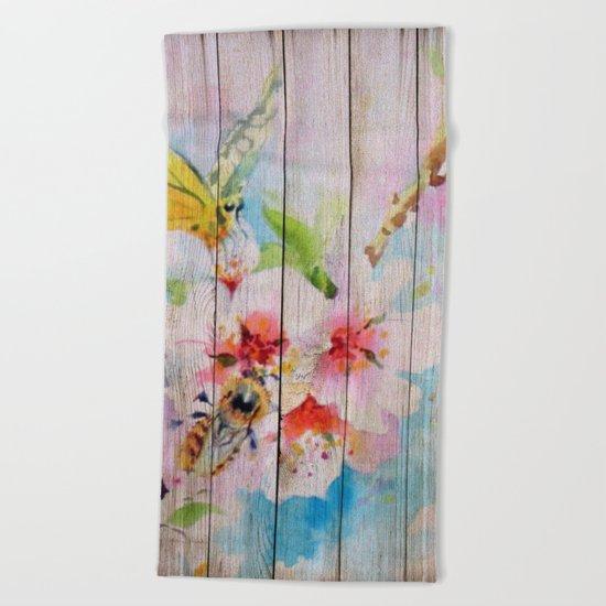 Spring on Wood 01 Beach Towel