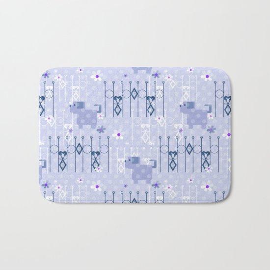 Blue pattern with puppy . Bath Mat