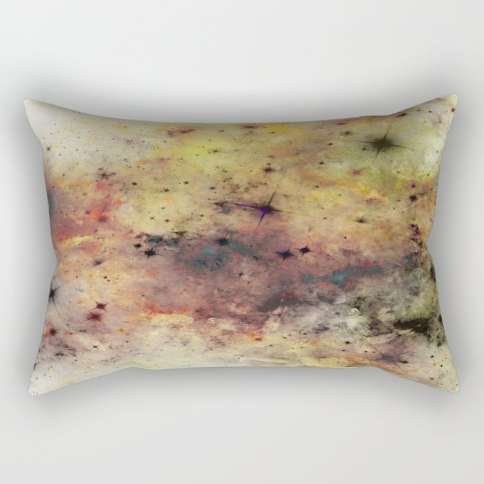 Into The Unknown - Abstract, rustic space style painting Rectangular Pillow