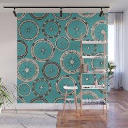 bike wheels turquoise Wall Mural
