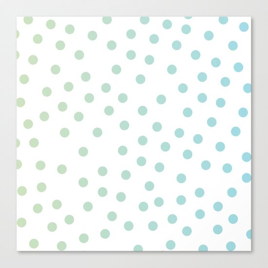 Simply Dots in Turquoise Green Blue Gradient on White Canvas Print