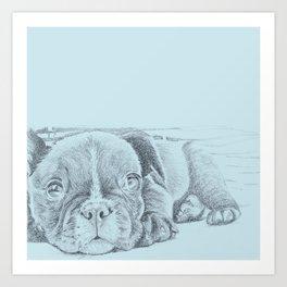 Sweet puppy blue Art Print