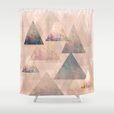 Pastel Abstract Textured Triangle Design Shower Curtain