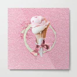 Pink Sugar Icecream Cone Metal Print