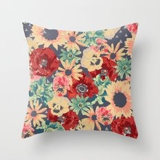 SEPIA FLOWERS -poppies, pansies & sunflowers- Throw Pillow