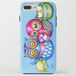 Crazy Owl Family  iPhone Case