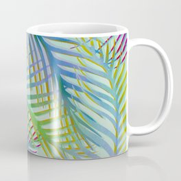 Palm Leaves Pattern - Blue, Purple, Green Coffee Mug