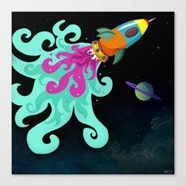 Happy Trip Rocket Ship Canvas Print