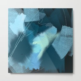 Midnight Blossom: an abstract, mixed media piece in dark and light blue / greens by Alyssa Hamilton Metal Print