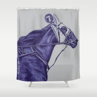 sport Shower Curtains featuring Sport Horses by Tosasmok