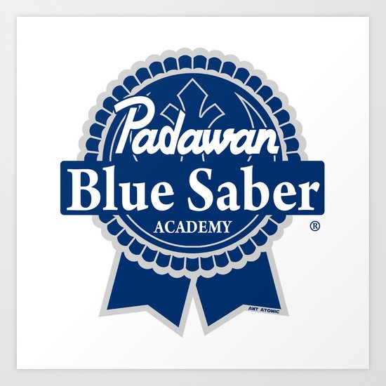 Padawan Blue Saber Academy Art Print