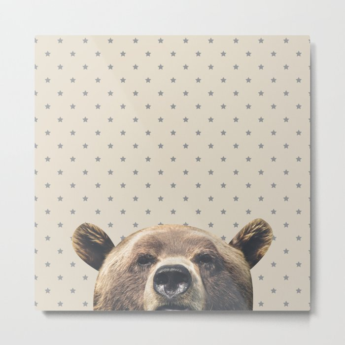 Bear and Stars Metal Print